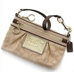 Coach Poppy Signature Capacity Wristlet Case Clutch Bag 44021 Khaki Bronze