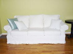 Slipcover with a Small Floor Length Box Pleat Skirt