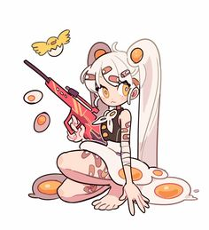 I relly like design of this character and how the artist uses the egg ass a key point in the design. The detail of her being cover in bandages because eggs a frail. Arte Do Kawaii, Kawaii Art, Cute Art Styles, Cartoon Art Styles, Chibi, Character Drawing, Character Illustration, Cartoon Kunst, Character Design References
