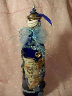 Altered Blue Bling Bottle