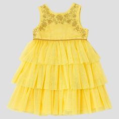 Toddler Girls' Beauty And The Beast Empire Dress - Rose Yellow : Target