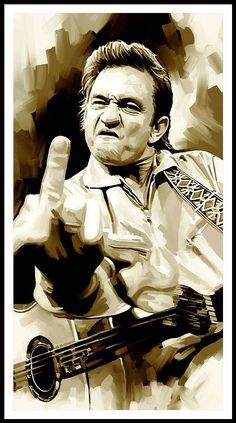 Johnny Cash Middle Finger, Johnny Cash Tattoo, Music Wall Art, Plakat Design, Creation Art, Punk, Art Pages, Portrait, Framed Art Prints