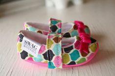 maryjane baby girl shoes toddler newborn velcro strap booties pink aqua slippers SWAG shower gift morocco beat ribbon. $33.00, via Etsy.