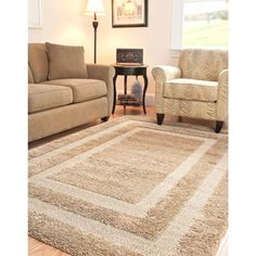 Florida Shag Beige 5 ft. 3 in. x 7 ft. 6 in. Area Rug