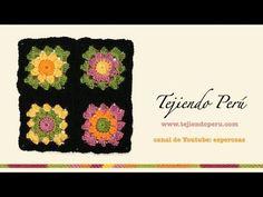 Cómo tejer a crochet un cuadrado o pastilla a colores (granny square) - YouTube