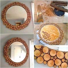 A nice picture to show you how to use little wood log as a mirror decoration. What you'll need: A piece of plywood: round, square...it's up to you and the shape of your mirror glass Wood branches of different sizes A saw to cut the wood branches Glue for the little wood log you have cut A mirror Tim…