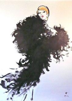 """Illustration by René Gruau, """"Monique""""."""