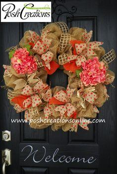 Spring Decor Wreath Spring Wreath Spring Mesh by poshcreationsKY Burlap Crafts, Wreath Crafts, Diy Wreath, Diy And Crafts, Wreath Burlap, Wreath Ideas, Monogram Wreath, Easter Wreaths, Holiday Wreaths