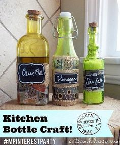 Check out how I made this vintage stamp inspired kitchen bottle set for cooking essentials! | Kitchen Bottle Craft | Michael's Pinterest Party DIY & Crafting