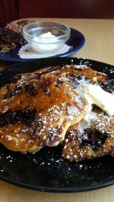 These blackberry rhubarb pancakes on special at Up For Breakfast in Manchester, Vermont tasted as good as they looked! Up For Breakfast is a great little spot only a few minutes away from Bromley, Stratton and the rest of the southwestern Vermont belt. We also tried their red flannel omelette and wild turkey hash which are served in heaping portions and are worth seeking out. If you're feeling a little adventurous they make a different kind of wild game sausage every day. The blueberry…