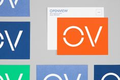 Custom typography, wordmark and postcards by Pentagram for Boston-based venture capital firm OpenView.