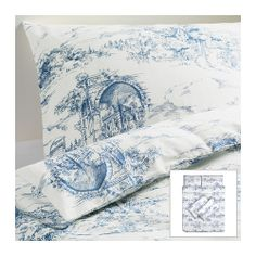 The fabric probably feels terrible, but love the print! EMMIE LAND Duvet cover and pillowcase(s) - Full/Queen - IKEA Cama Ikea, Ikea Duvet Cover, Duvet Cover Sets, Ikea Bedroom Furniture, Furniture Sets, French Country Bedding, Quilt Cover, My New Room, Decoration