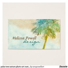 palm tree nature tropical photo art custom double sided business card with original photography. Photography copyright Ann Powell all rights reserved. Size: x Color: Signature UV Matte. Wedding Color Schemes, Wedding Colors, Art Business Cards, Double Sided Business Cards, Nature Photos, Palm Trees, Photo Art, Create Your Own, Things To Come