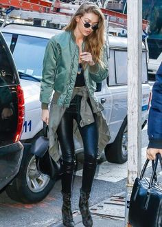 Gigi Hadid in a leather trousers in New York