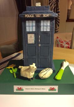 Paper mache Tardis. Harri's prize winning Eisteddfod entry 2016, for a 3D model. Doctor Who - made in Wales.