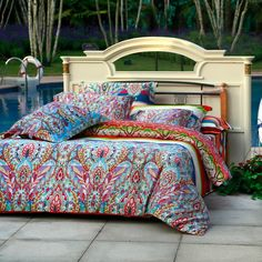 Aqua Blue Green and Red Colorful Bohemian Tribal Print Luxury 100% Egyptian Cotton Full, Queen Size Bedding Sets - EnjoyBedding.com