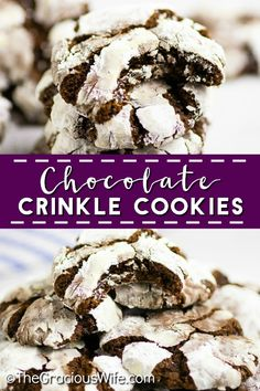 Chewy fudgy Chocolate Crinkle Cookies are pretty and easy to make. They're rich and decadent and are perfect for Christmas baking and cookie exchanges! Cookie Recipes, Dessert Recipes, Bar Recipes, Family Recipes, Baking Recipes, Yummy Recipes, Chocolate Crinkle Cookies, Chocolate Crinkles, Keto Friendly Desserts