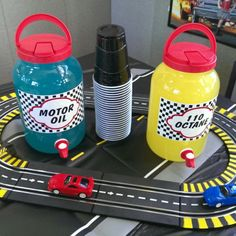 Race car theme drinks