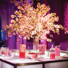 pink cherry blossom flowers & Pink Candy Bar at Reception