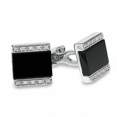 #xmas #Christmas #Zales - #Zales Men's Onyx and Diamond Cuff Links in Sterling Silver - AdoreWe.com