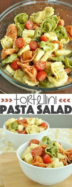 This addictive Tortellini Pasta Salad is tossed with an uber-flavorful homemade dressing and is sure to vanish quickly at your next party or BBQ! :: It's quick, easy, and can be made ahead of time for a tasty grab and go dish!