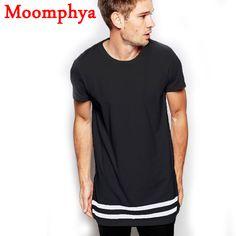 Moomphya Streetwear Men t shirt extended longline hipster t shirt men stripes t shirt Homme Long