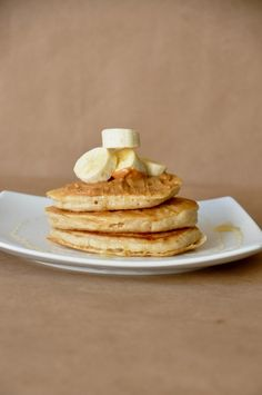 very vanilla vegan pancakes with bananas and peanut butter.