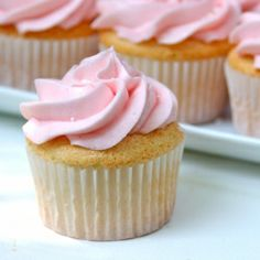Angel food cupcakes topped with a raspberry-lemon frosting
