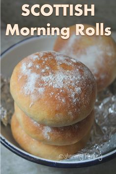 This soft scottish morning rolls are perfect served warm with a cup of coffee or tea. They are also called as floury rolls. Scottish Dishes, Scottish Recipes, Turkish Recipes, British Recipes, Romanian Recipes, Bread Recipes, Soup Recipes, Cooking Recipes, Recipies