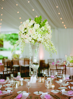 Wedding reception centerpiece idea; Featured Photographer: Marisa Holmes Photography
