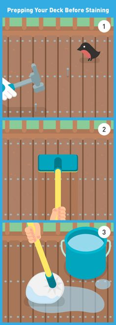 Rain and snow take a toll on your deck. Follow these steps to prep your deck before staining, so you're ready for springtime socializing.  (1) Clear all furniture and loose debris. (2) Drive in any nails. (3) Smooth out with a sanding pole. (4) Apply cleaner with an extended paint roller, garden sprayer, or push broom. (5) Scrub tough areas. (6) Allow cleaner to soak in. (7) Rinse with a garden hose. (8) Allow to dry for at least 2 days. #SpringIsCalling