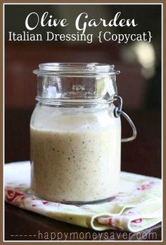 5 homemade salad dressing recipes: Olive Garden Copycat, Raspberry Vinaigrette, Apple Vinaigrette, Thousand Island, and Ranch.