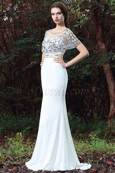 eDressit White Cape Embroidery Beaded Formal Dress (02171307)