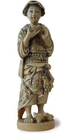JAPANESE OKIMONO | Antique Japanese Bird Lover Ivory Okimono