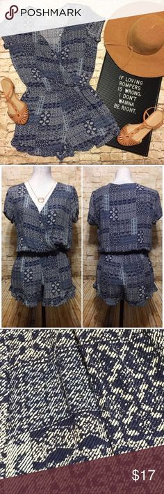 Mimi Chica Super Cute Blue Romper!  😍 Very gently used.  Make me an offer!!  😊💜 Mimi Chica Dresses