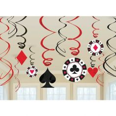 12 Casino Swirls & Cutout Hanging / Ceiling Party Decorations Poker Card Night | eBay