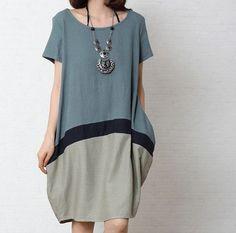 Jeans blue Irregular dress cotton /linen dress short sleeve dress linen /cotton loose dress women dress cotton blouse plus size dress.  214 on Etsy, $59.90: