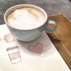 """#coffee #cappuccino #illustration #illustrasjon #drawing #tegning #promarker #onmydesk #create"""