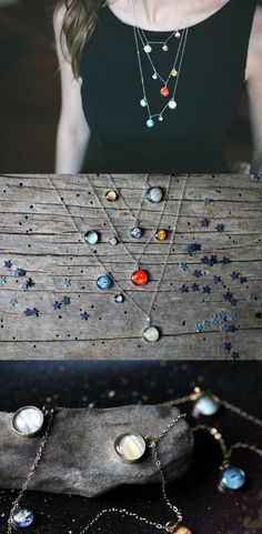 Layered Solar System Necklace in Gold or Silver by Jerseymaids at www.spacejewelry.co