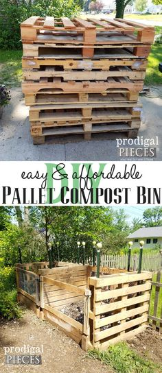 Pallet Compost Bin DIY ~ A Must Have - Prodigal Pieces - - Want to make an impact on the earth? Build this recycled DIY pallet compost bin. Easy & affordable, plus tips on how to get great compost, aka. Compost Barrel, Garden Compost, Pallet Compost Bins, Build Compost Bin, Homemade Compost Bin, Compost Bucket, Compost Tumbler, Diy Gardening, Organic Gardening