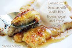 Amee's Savory Dish: Caramelized Bananas with Vanilla Bean Frozen Yogurt & Maple Drizzle