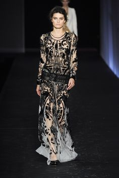 The print master works sequins on sheer for a textured take on print.    (Roberto Cavalli SS12)