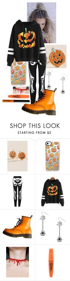 """Cozy Halloween"" by frootloop16 ❤ liked on Polyvore featuring Francesca's, RAHUA, Casetify, WithChic, Dr. Martens, Rimmel and NYX"