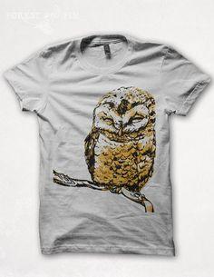 Mens Owl Tshirt Graphic Tee Screenprint Bird of par forestandfin, $22,00