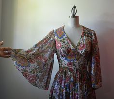 Vintage Dress 1970's Maxi Dress Brown and Rust by EadoVintage, $68.00