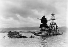 Wreckage of 14 in Pennsylvania class battleship USS Arizona pictured on 10 December three days after the Pearl Harbor attack. She had suffered a catastrophic magazine explosion. Remember Pearl Harbor, Uss Arizona Memorial, Us Navy Ships, Pearl Harbor Attack, History Online, History Education, Naval History, Military History, Battleship