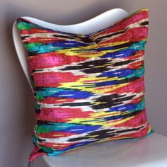 15% OFF Ikat multicolor velvet pillow cover  jewel by StuckOnHue