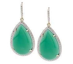 love these!!! Perfect for that statement piece for a wedding!  --Green Agate & Diamond Cut Red Carpet Dangle Earrings 14K Gold