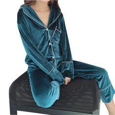 Elegant Soft Pajamas Women Sleepwear Spring Winter Warm Plus Size Long-sleeved Velvet Pyjama Suit Nightwear 2 Pieces Pajama Set Adult Pajamas, Plus Size Pajamas, Pyjamas, Night Suit For Women, Suits For Women, Clothes For Women, Pijamas Women, Cute Pjs, Pajama Suit
