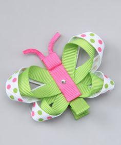 Green Polka Dot Butterfly Clip
